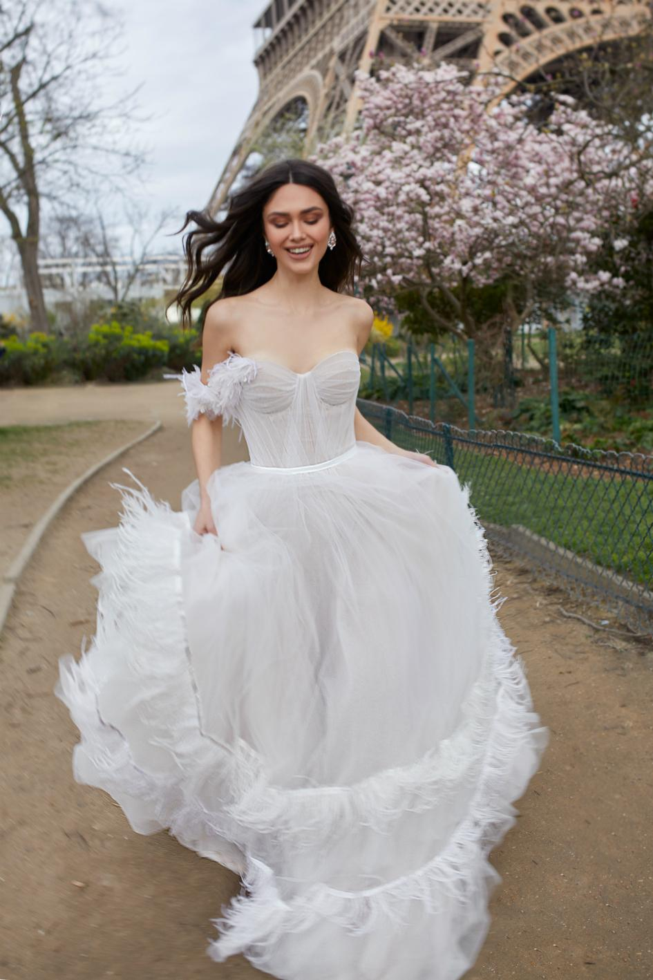 dress feather julie vino shoulder bridal paris bride dresses romantic samantha trunk tulle sweetheart partybravo collection sleeves neckline backless line
